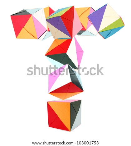 Letter T from origami block alphabet - stock photo