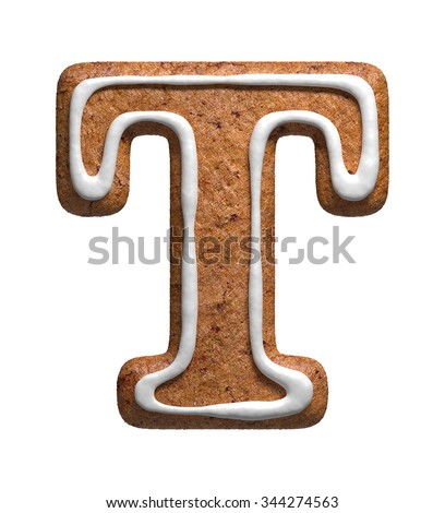 Letter T. Gingerbread font. Christmas cookies alphabet. - stock photo