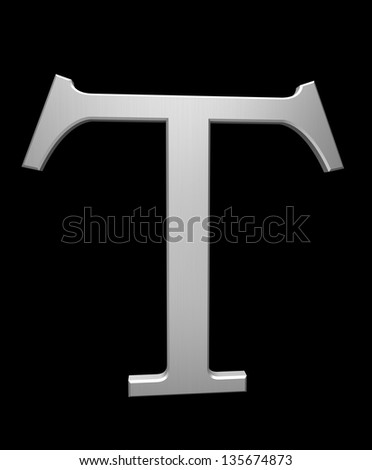 Letter T in brushed steel isolated on black with clipping path - stock photo