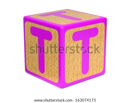 Letter T on Pink Wooden Childrens Alphabet Block  Isolated on White. Educational Concept. - stock photo