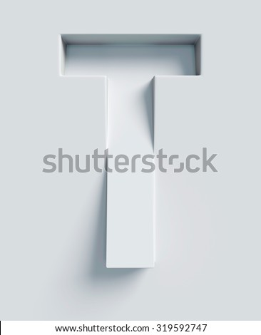 Letter T slanted 3d font engraved and extruded from the surface - stock photo
