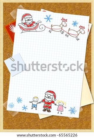 Letter to Santa Claus. Horizontal background - stock photo