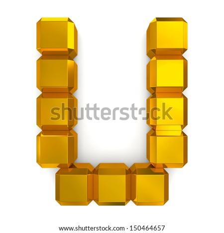 letter U cubic golden - stock photo