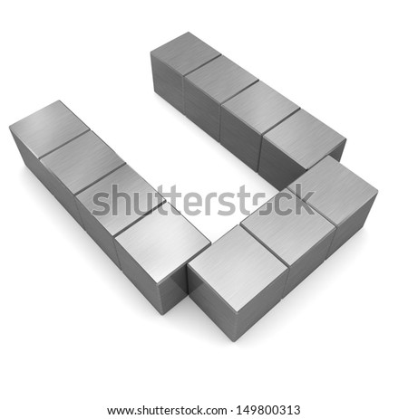 letter U cubic metal - stock photo