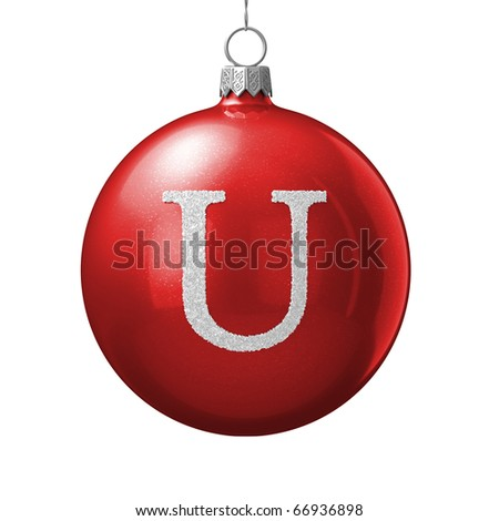 Letter U from cristmas ball alphabet. There is a clipping path - stock photo