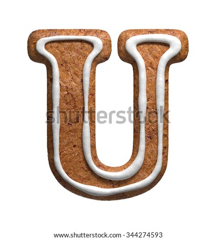 Letter U. Gingerbread font. Christmas cookies alphabet. - stock photo