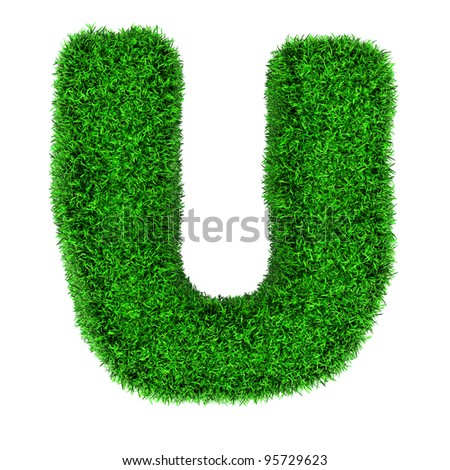 Letter U, made of grass isolated on white background. - stock photo