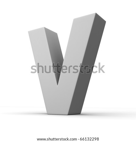 Letter V from solid alphabet. There is a clipping path - stock photo