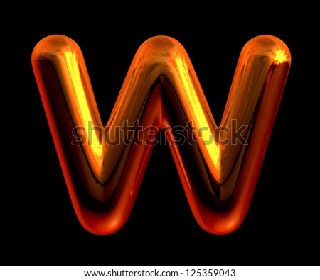 Letter W from chrome orange sunset alphabet. There is a clipping path - stock photo