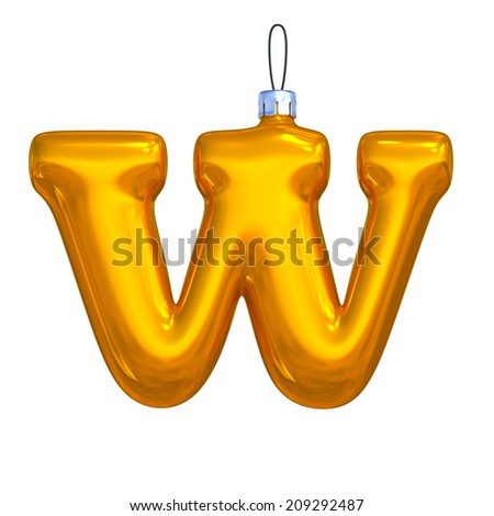 Letter W. Golden shining christmas ball. Alphabet isolated on white background. - stock photo