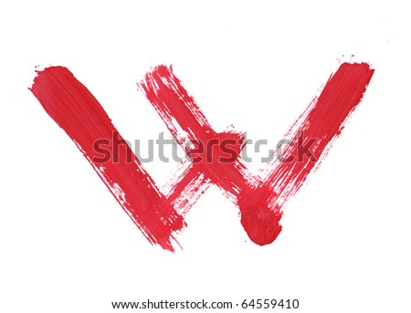 Letter W handwritten paint stroke sketch. Red Isolated on white background. One from collection set. - stock photo