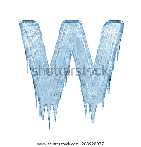 Letter W. Ice font isolated on white background. Alphabet. - stock photo