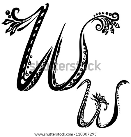 Letter W w in the style of abstract floral pattern on a white background - stock photo