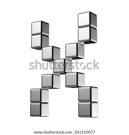 Letter X from digital cube middle perspective alphabet. There is a clipping path - stock photo