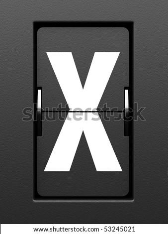 Letter X from mechanical scoreboard alphabet - stock photo
