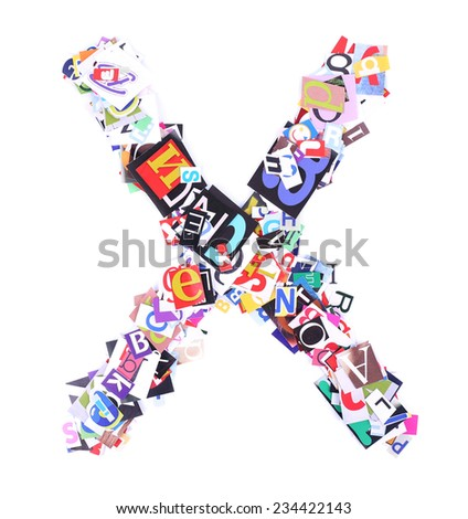 Letter X made of colorful newspaper letters isolated on white - stock photo