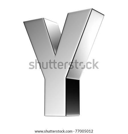 Letter Y from chrome solid alphabet. There is a clipping path - stock photo