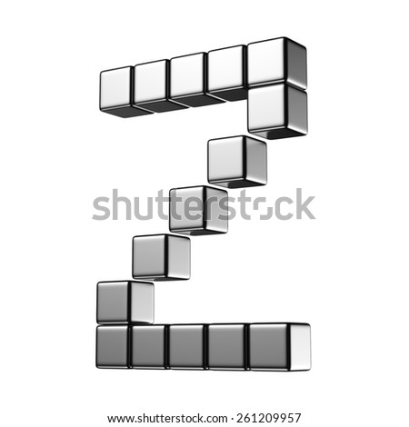 Letter Z from digital cube middle perspective alphabet. There is a clipping path - stock photo