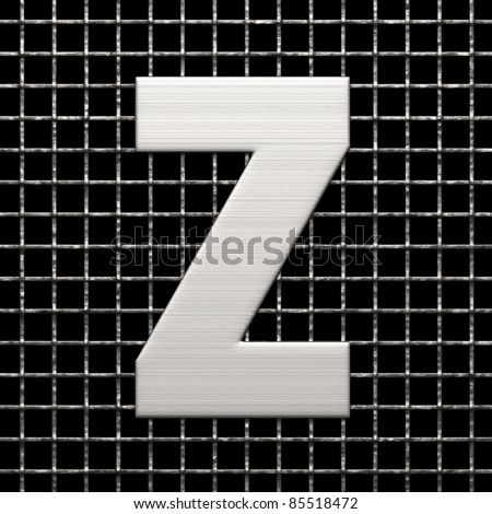 Letter Z from metal net alphabet. There is a clipping path - stock photo