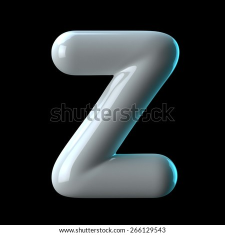 Letter Z from round white blue light alphabet. There is a clipping path - stock photo