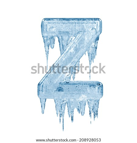 Letter Z. Ice font isolated on white background. Alphabet. - stock photo