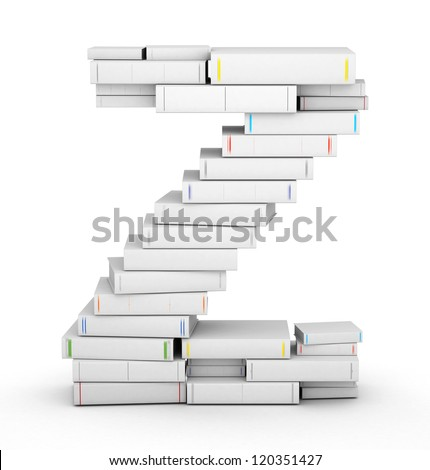 Letter Z, stacked from many blank title books in column - stock photo