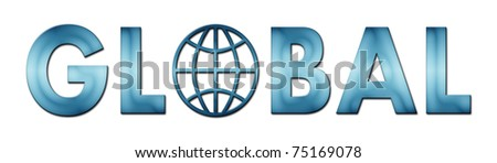 Lettering Global with world symbol in blue tones (raster illustration on white background) - stock photo