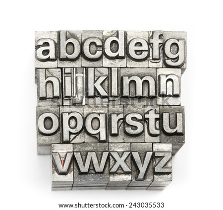 Letterpress  block letter English alphabet and number - stock photo