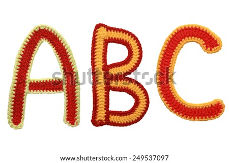 Letters A B C of knit handmade alphabet isolated  on white background  - stock photo