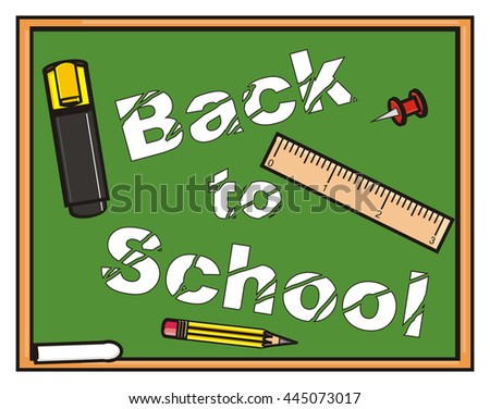 letters a little worn on the blackboard back to school and stationery items - stock photo