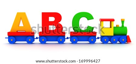Letters abc in toy train carriages on a white background   - stock photo