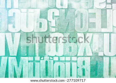 letters and numbers in vintage letterpress wood type - stock photo