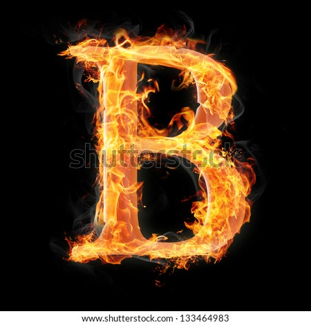 Letters and symbols in fire - Letter B. - stock photo