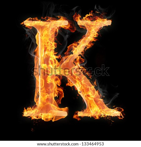 Letters and symbols in fire - Letter K  - stock photoLetter K Fire
