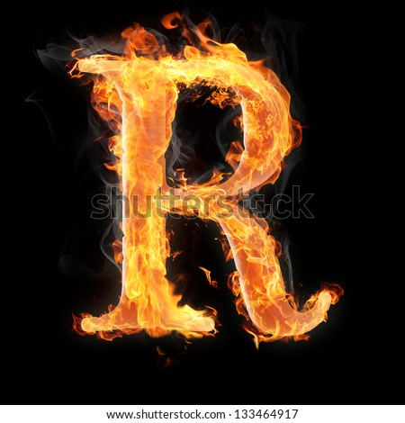 R Letter In Blue Fire R magic Stock Photos, ...