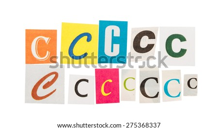 Letters C from newspapers isolated on white background - stock photo