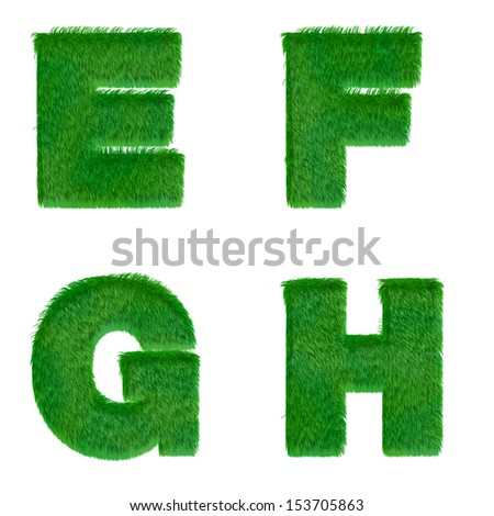 Letters e,f,g,h made of green grass isolated on white - stock photo