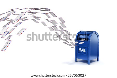 letters flying into mail box - stock photo