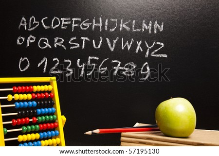 Letters from alphabet & Chalkboard - stock photo