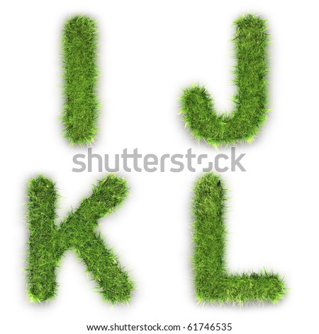 Letters i,j,k,l made of green grass isolated on white - stock photo