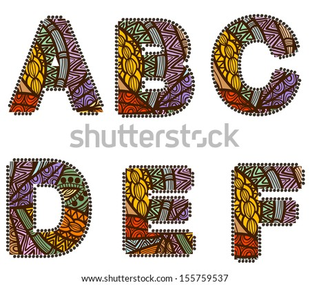 letters in the vintage style of the various elements - stock photo