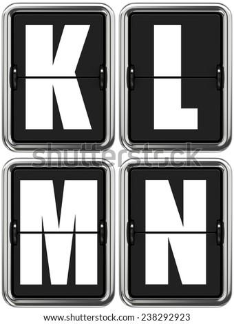 Letters K L M N - Set of Alphabet on Mechanical Scoreboard. - stock photo