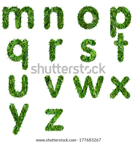 Letters m,n,o,p,q,r,s,t,u,v,w,x,y,z made of green grass isolated on white - stock photo