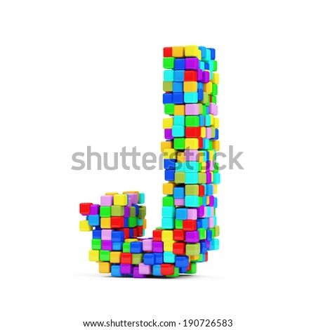 Letters Made From Colorful Cubes isolated on white background (Letter J) - stock photo