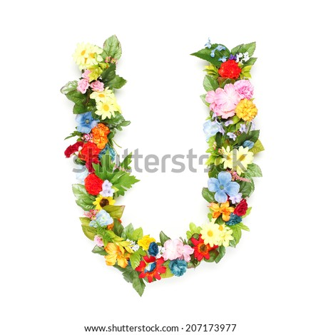 Letters made of leaves and flowers - stock photo