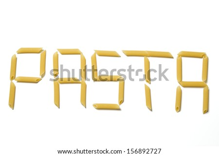 Letters made out of pasta, isolated on white background - stock photo