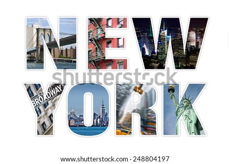 Letters NEW YORK photo collage isolated on white background - stock photo