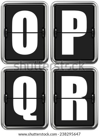 Letters O, P, Q, R - Set of Alphabet on Mechanical Scoreboard. - stock photo