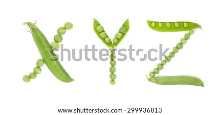 Letters of english alphabet with unique design of the pods of green peas. ABC. Each letter represents a unique and inimitable combination of pods and peas. - stock photo