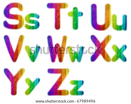 Letters S T U V W X Y Z with a Wooden Rainbow Background - stock photo